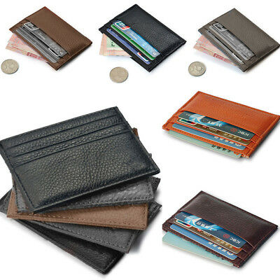 Leather Men's Womens Small Id Credit Card Wallet Holder Slim Pocket Case Purse