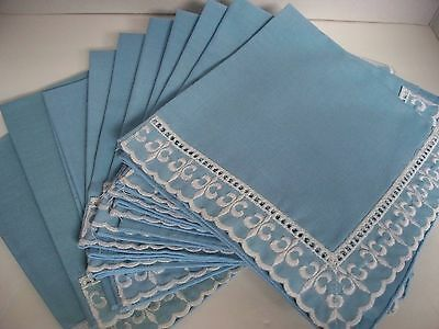 Lot of 10 Blue w/White Lace Design Embroidery Linen Napkins Machine Edged
