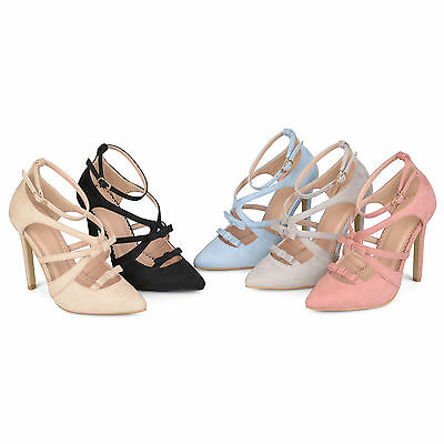 e361cf6a8ae BRINLEY CO. WOMENS Regular and Wide-Width Faux Suede High Heel Ankle ...