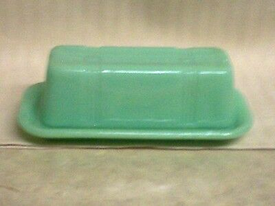 Vintage Look  Jadite Glass Butter Dish With Lid  / Table / Counter