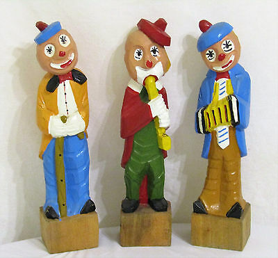 Vintage Hand Carved Hand Painted Trio Of Wooden Clown Musician Figurines Euc!