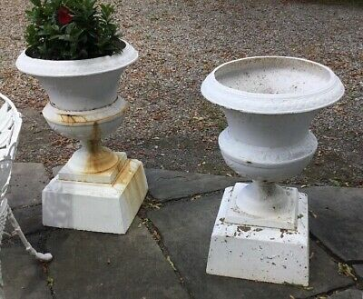 Pair Of Antique Victorian Cast Iron Urns Bird & Flower Decorated