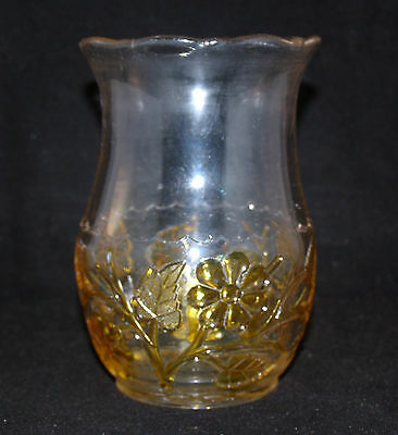 Amber Stained Eapg No. 339 Leaf And Flower Pattern Glass Vase Hobbs Brockunier