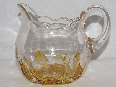 Amber Stained Eapg No. 339 Leaf And Flower Pattern Glass Creamer Cream Pitcher