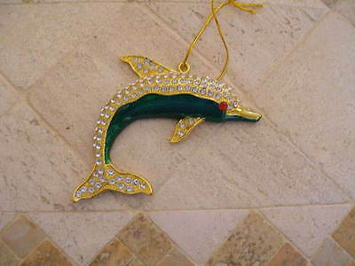 """Dolphin Bling Ornament  5"""" Green  Enamel With  Clear Sparkly Stones  Lovely Gift"""