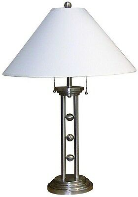 Brushed Metal Silver Table Lamp 27 in. Steel Body White Linen Shade Ceramic Base