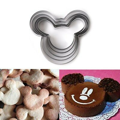 5Pcs Mickey Mouse Stainless Steel Cookie Sandwich Bread Cutter Fondant Cake Mold