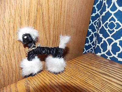 Japan Poodle Pin Vintage Pipe Cleaner and Fur with Glass Beads