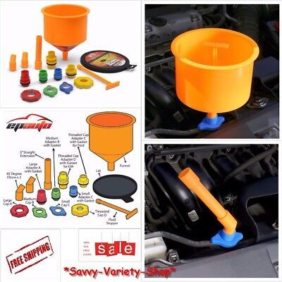EPAuto Spill-Proof Radiator Coolant Filling Funnel Kit Color Auto Car No Spills