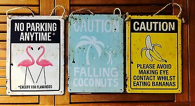 3 X Typo Cotton On Hanging Tin Metal Signs Retro/Vintage-Inspired Kitsch Funny