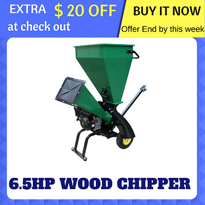 WOOD CHIPPER Garden Mulcher Mulch Chip Shredder 6.5HP