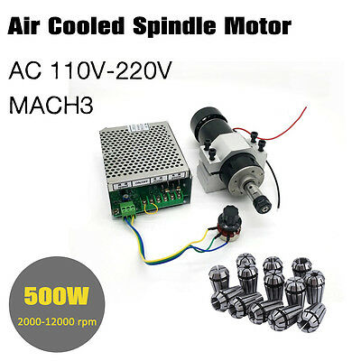 DIY Mini CNC 500W Spindle Motor 52MM Clamp 110V Power Converter ER11 Collect GD