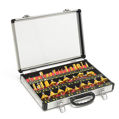 35 piece 1/4'' Shape Router Bit Set in Aluminium Case Woodworking Tool 6.35mm