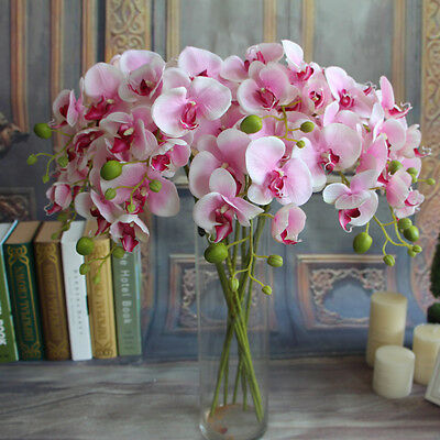 Artificial Butterfly Orchid Silk Flower Wedding Party Fake Home Bridal Decor UK