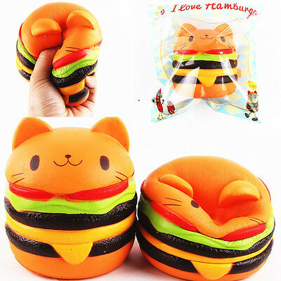 Sanqi Elan Squishy Soft Cat Hamburger Squeeze Fun Kid Toy Gift Stress Reliever