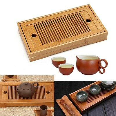 Portable Bamboo Gongfu Tea Table Serving Water Drip Tray Tabletop Home 27*13.7cm