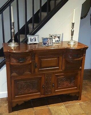Victorian Antique Walnut Carved Sideboard 2  Drawers 3 Cupboard Doors