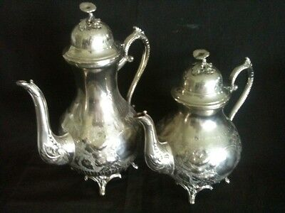 QUIRKY ANTIQUE SILVERPLATE COFFEE 28cm & TEA POT 22cm TALL w/ TOADSTOOL KNOBS
