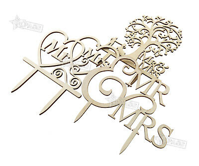 Wedding Rustic Laser Cut Cake Topper Heart Mr And Mrs Tree Wooden Decoration