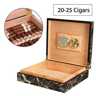 20 Counts Cedar Wooden Cigar Storage Case Box w/ Humidor Humidifier Hygrometer