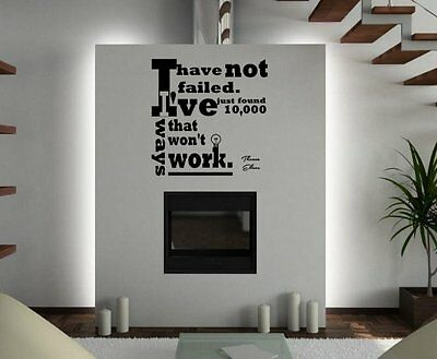 JC Design 'I have not failed. I've just found 10 000 ways..' Wall Stickers. New!