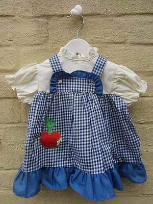 vintage 60's 70's baby dresses blue gingham cool summer apple logo age 1 - 18 mo