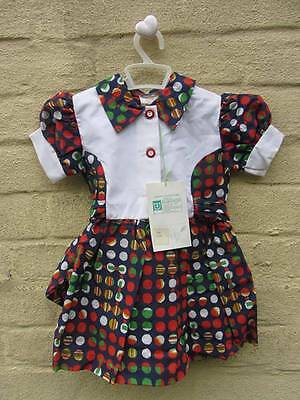 vintage baby cool cotton summer dress age 3 70's deadstock new with tags
