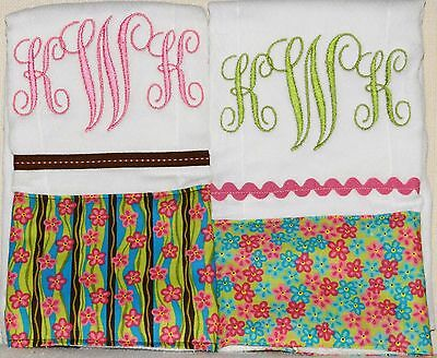 2 Pink and Brown Floral Monogrammed Embroidered Burp Cloths Great Gift Idea!