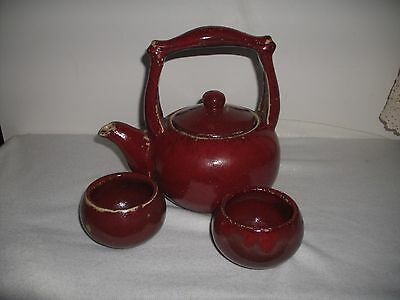 Pottery Paprika Red Tea Pot And Two Cups Vintage