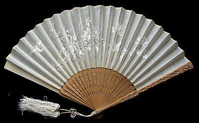 Antique Chinese Carved Sandalwood Embroidered Silk Export Fan 清朝 ca 1880-1900