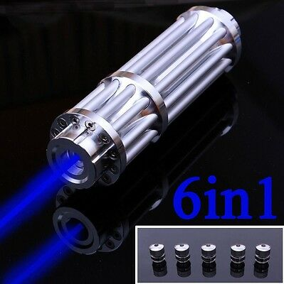 Blue Laser Pointer Point Pen 445nm Match Burning Beam Light Lazer + 5mW Star Cap