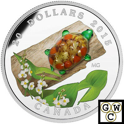 2015 Glass Turtle with broadleaf Arrowhead Flower $20 Silver 1oz.9999Fine(17296)