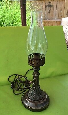 """VINTAGE 15"""" Glass Lantern Electric Lamp w Glass Shade And Solid Brass Base"""