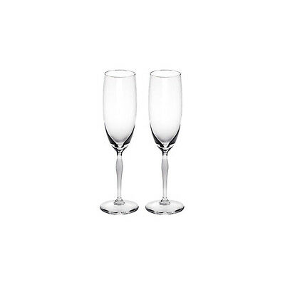 GENUINE LALIQUE Pair of 100 Points Champagne Flutes Clear New 10331300