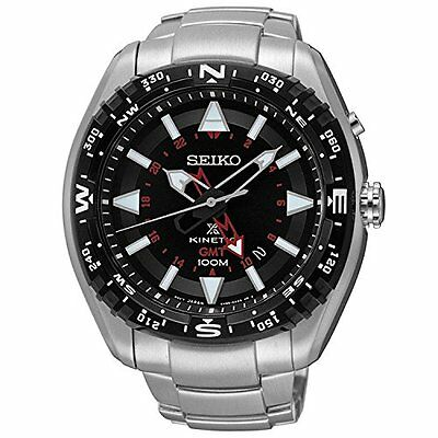 Men's Seiko Prospex Kinetic Stainless Steel Black Dial Watch