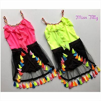 🖤 Girls Neon Pink or Lime Playsuit Jumpsuit Tassels Ruffles Ages 1-12 Kids