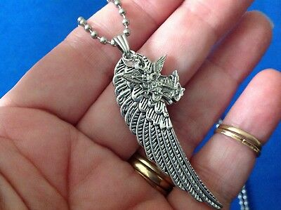 ARCHANGEL St MICHAEL Saint Medal NECKLACE Pendant Wing Protection Stainless Stee