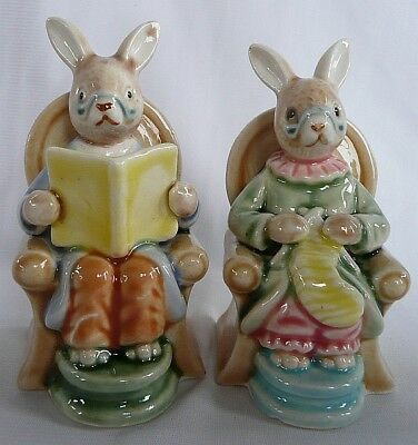 Vintage New N Box Enesco Ceramic Grandma Grandpa Mom Pop Bunny Bunnies Rabbits