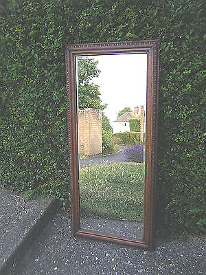 Antique Vintage Full Length Carved Wood Framed Bevelled Edge Wall/Hall Mirror