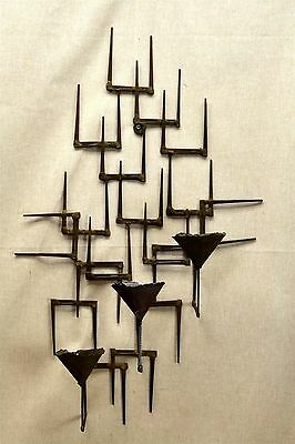 Mid-Century  Brutalist  Nail Art   Wall Sconce  3 Candle  Non Electric
