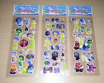 3 Sheets of Disney Inside Out Stickers.