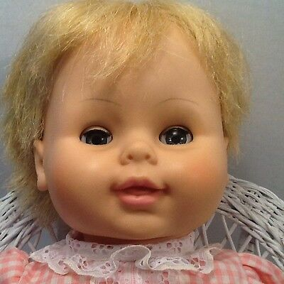 "Vintage 1967 Horsman Cloth Body Baby Doll 18"" Adorable Face!"