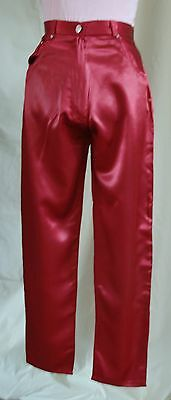 Vintage Women's Red/Maroon Satin Trousers - Size 14
