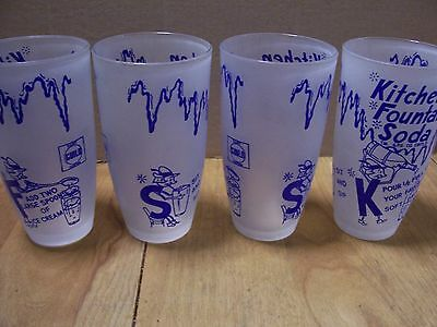 "Set of 4 VINTAGE '50s Dairy Guild ""Kitchen Fountain Soda"" Glasses"