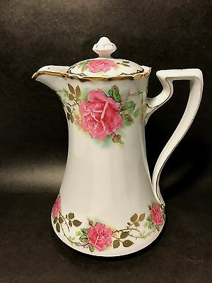 Bavaria Hand Painted Chocolate Pot Gold Leaves Trim Pink Roses