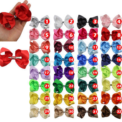 "1Pcs 4"" Hair Bows Girl Baby Alligator Clip Grosgrain Rhinestone Hair Accessories"