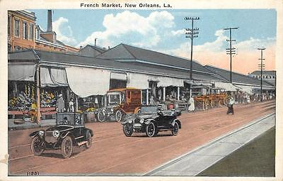 FRENCH MARKET New Orleans, Louisiana Street Scene Vintage Postcard ca 1920s