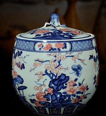 chinese  ancient Blue and white youligong porcelain sculpture tree storage jar