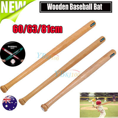 "24'' 25""32"" Outdoor Wood Baseball Bat Wooden Softball Bat Family Safety Sport AU"