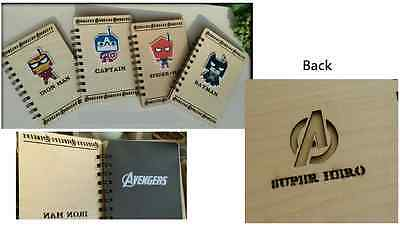 17x12cm 50Pages AVENGERS Wood Cover Scrapbook Diary Book